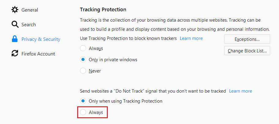 Firefox ad tracking privacy setting